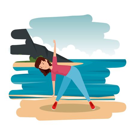 athletic girl practicing exercice on the beach vector illustration design