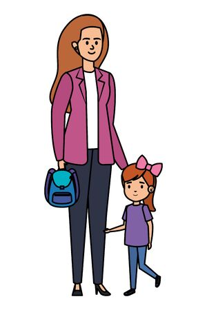 happy student girl with female teacher vector illustration design