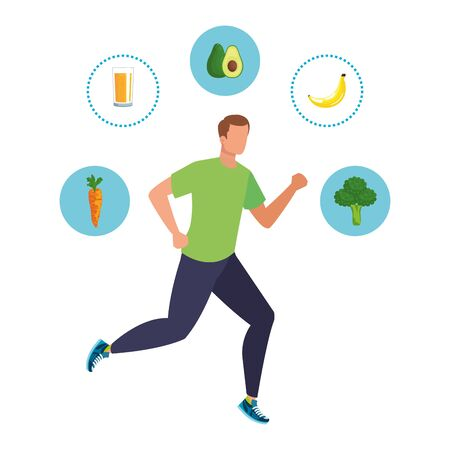 young athletic man running with healthy food vector illustration design Archivio Fotografico - 134965259