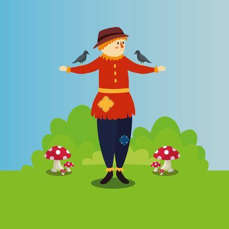 Espantapájaros con cuervo y hongo, diseño de ilustraciones vectoriales