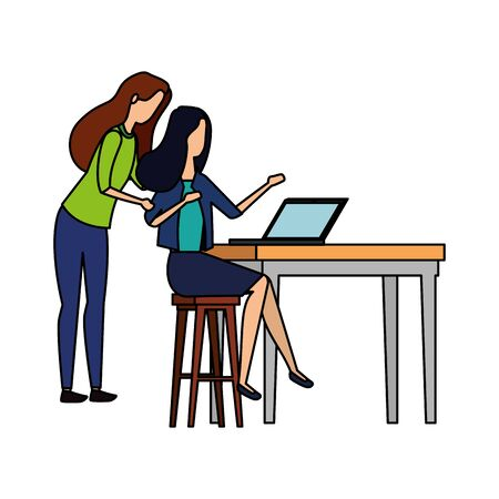 elegant businesswomen working with laptop vector illustration design Illustration