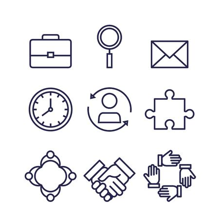 set of ecommerce icons to business strategy over white background, vector illustration 向量圖像