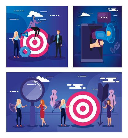 Target smartphone and people design, Solution success strategy idea problem innovation and creativity theme Vector illustration