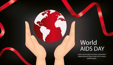 poster of world aids day with hands and planet earth vector illustration design Ilustração