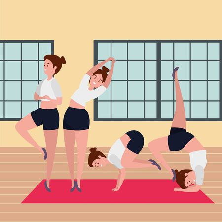 beauty girls group practicing pilates position in the gym vector illustration design