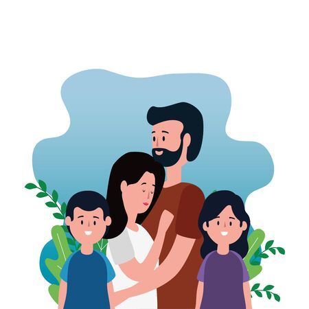 parents couple with daughter and son on the park vector illustration design Illusztráció