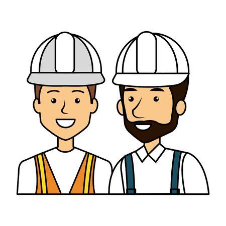 builders constructors with helmets characters vector illustration design Ilustração