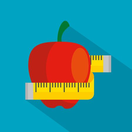 apple fruit with tape measuring to healthy lifestyle over blue background, vector illustration