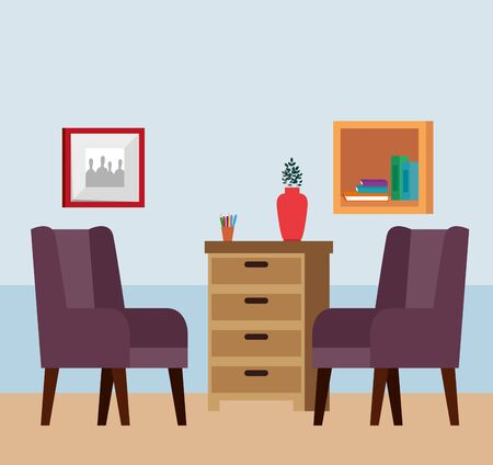 home living room place scene vector illustration design Reklamní fotografie - 134977191
