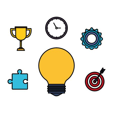 bulb light idea with business icons vector illustration design
