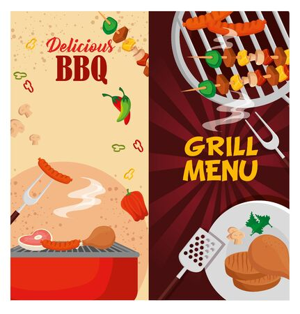 delicious grill menu with oven and meats vector illustration design Illustration