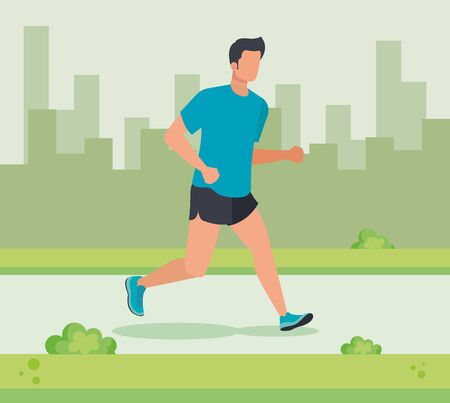 man trotting sport lifestyle in the cityscape with bushes plants, vector illustration Illustration