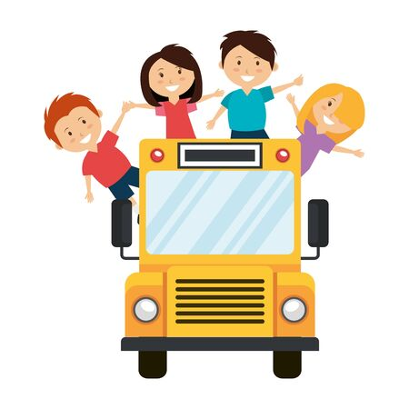 school bus transport with group of kids vector illustration design