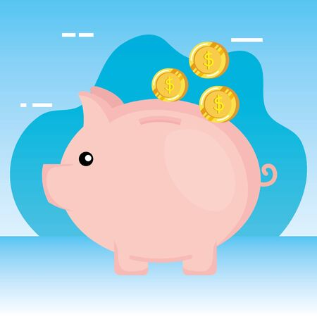piggy savings with coins money vector illustration design