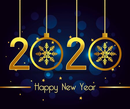 Happy new year 2020 design, Welcome celebrate greeting card happy decorative and celebration theme Vector illustration 版權商用圖片 - 134998407