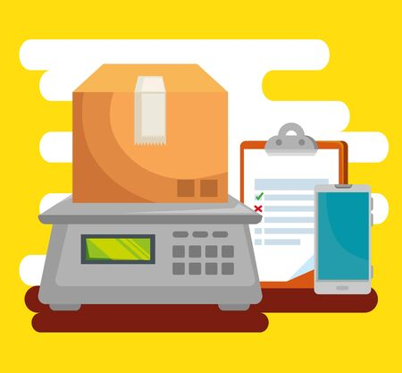 box in the weighing machine with check list and smartphone to delivery service vector illustration