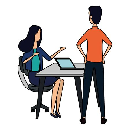 elegant business couple working with laptop vector illustration design Illustration