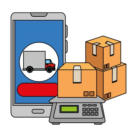 smartphone with delivery truck app and balance vector illustration design