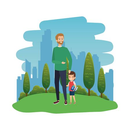 happy student boy with male teacher in the landscape vector illustration design