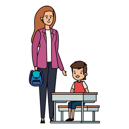 happy student boy in schooldesk with female teacher vector illustration design