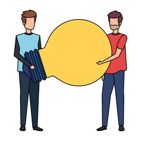 young men lifting bulb light characters vector illustration design