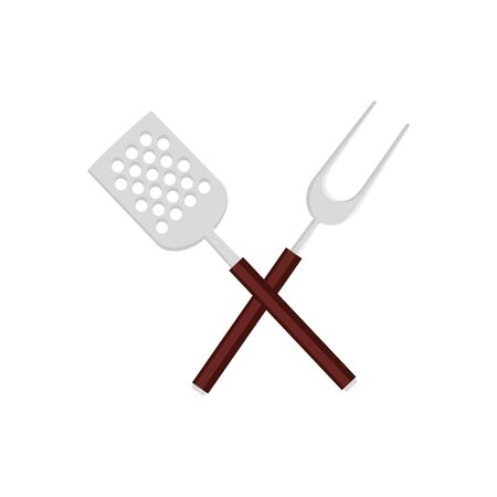 spatula with fork barbecue cutlery tools isolated icon vector illustration design Illusztráció