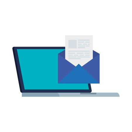 laptop computer with envelope isolated icon vector illustration design