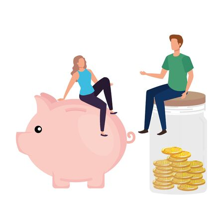 young couple with coins money in mason jar and piggy vector illustration design