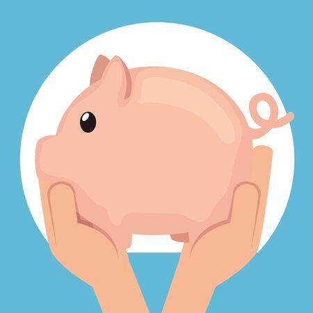 label of hands with piggy save money over blue background, vector illustration Ilustracja