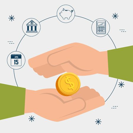 hands with coin and set icons vector illustration design