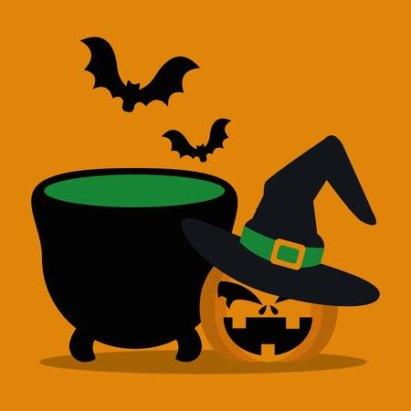 halloween pumpkin with hat witch and cauldron vector illustration design Ilustracja