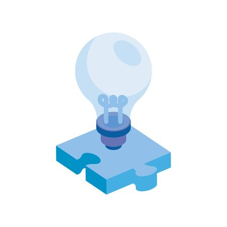 light bulb with puzzle piece isolated icon vector illustration design