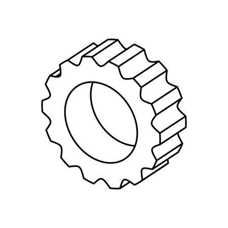 gear pinion machine line style icon vector illustration design