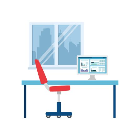 Office desk with chair design, Workforce corporate job occupation professional and workplace theme Vector illustration