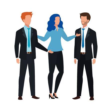 uomini d'affari che incontrano il disegno dell'illustrazione di vettore del carattere dell'avatar
