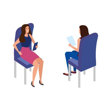 beautiful women sitting in chairs isolated icon vector illustration design