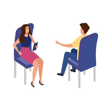 young couple sitting in chair isolated icon vector illustration design