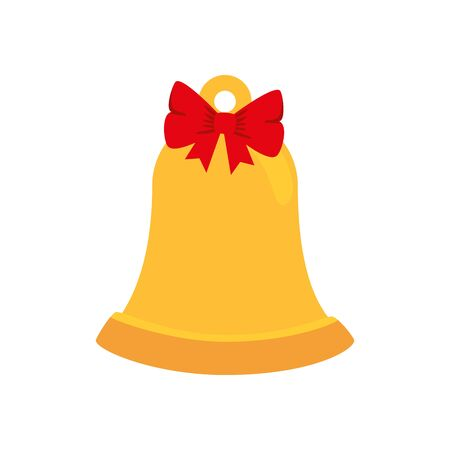 bell christmas with ribbon isolated icon vector illustration design