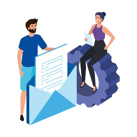 young couple with envelope and gear vector illustration design