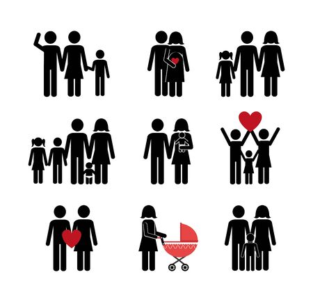 bundle of family members avatar character vector illustration design Ilustrace