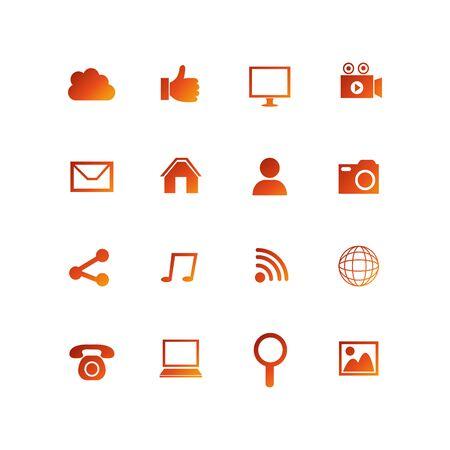 bundle social media set icons vector illustration design Illustration