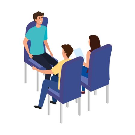 young people sitting in chair isolated icon vector illustration design Ilustrace