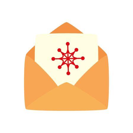 envelope with card christmas isolated icon vector illustration design Illusztráció