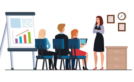 business people meeting with infographics presentation in workplace vector illustration design Ilustrace
