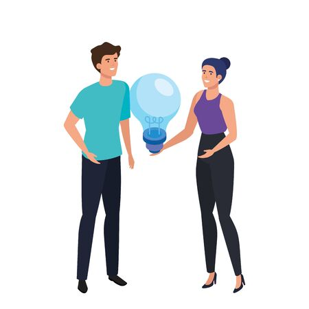 young couple with light bulb isolated icon vector illustration design Ilustrace