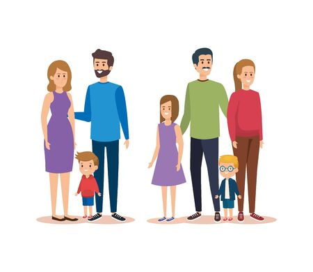 set happy women and men with their daughter and sons vector illustration