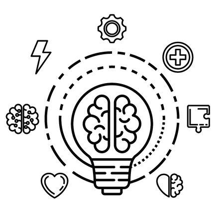 health brain inside creative bulb idea vector illustration