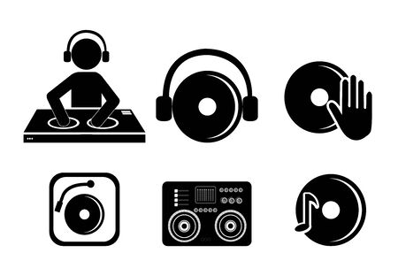 bundle dj music set icons vector illustration design