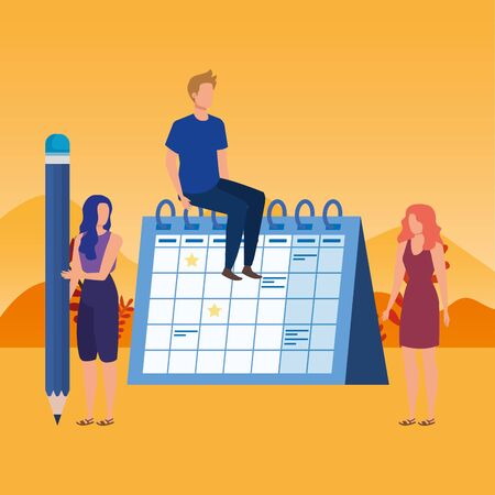 group of people with calendar characters vector illustration design Vettoriali