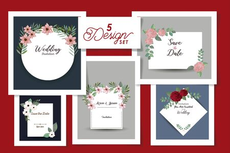 set five designs of wedding invitation cards with flowers and decoration vector illustration design